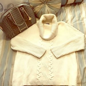 Talbots cream chunky cable knit sweater